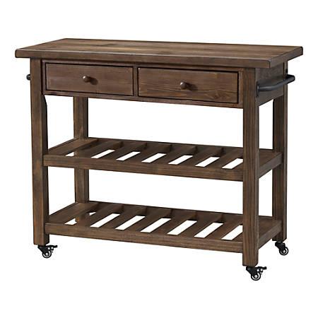 Coast To Coast Orchard Park 2 Drawer Kitchen Cart 34 H X 42 W X 18 D Brown Item 6716264