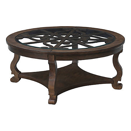 "Coast to Coast Orchard Park 42""W Wood Round Cocktail Table, Brown"