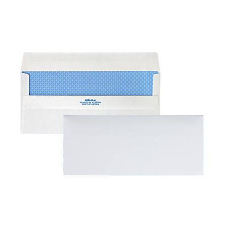 """Quality Park® Redi-Seal™ Business Security Envelopes, #10, 4 1/8"""" x 9 1/2"""", White, Box Of 500"""