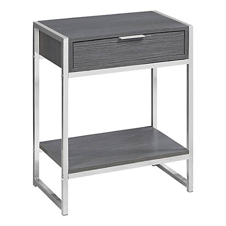 Monarch Specialties 1-Drawer Rectangle Side Table With Shelf, Gray/Chrome