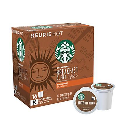 Starbucks Breakfast Blend Coffee K-Cup® Pods, 0.4 Oz, Box Of 16 Pods