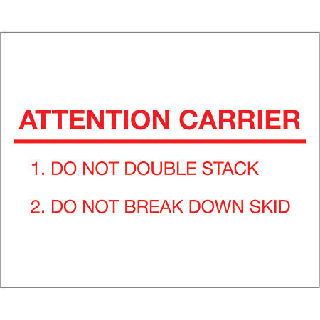 """Tape Logic® Preprinted Pallet Protection Labels, DL1231, 8"""" x 10"""", """"Attention Carrier"""", Red/White, Roll Of 250"""