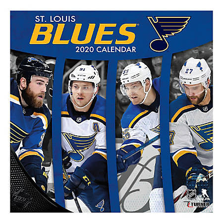 """Turner Licensing Monthly Wall Calendar, 12"""" x 12"""", St. Louis Blues, 2020"""