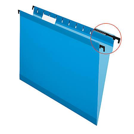Pendaflex® SureHook™ Reinforced Hanging Folders, 1/5-Cut, Letter Size, Blue, Box Of 20