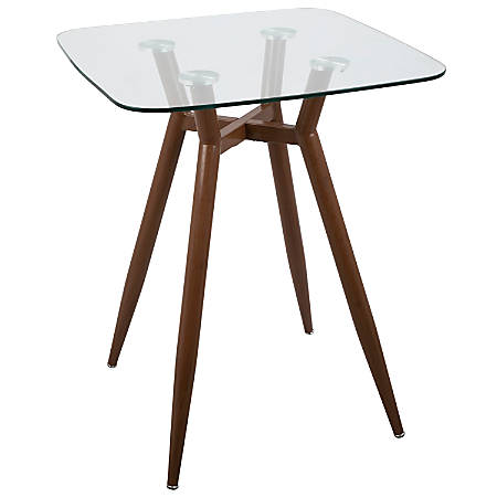 Lumisource Clara Mid-Century Modern Counter Table, Square, Clear/Walnut