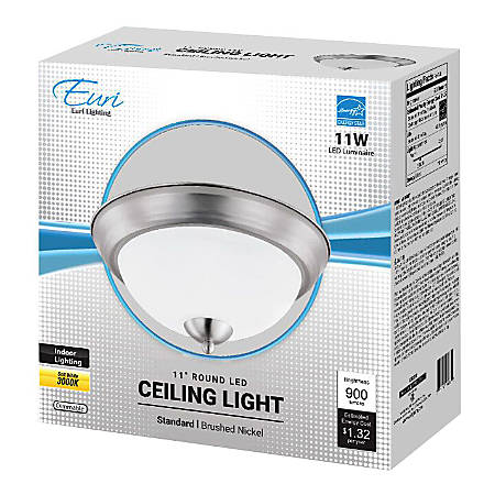 """Euri Indoor Round LED Ceiling Light Fixture, 11"""", Dimmable, 3000K, 11 Watts, 900 Lumens, Brushed Nickel/Etched Glass"""