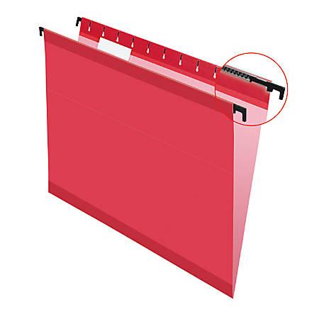 Pendaflex® SureHook™ Reinforced Hanging Folders, 1/5-Cut, Letter Size, Red, Box Of 20