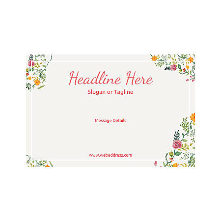 Adhesive Sign, Horizontal, Floral Design 6