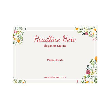 Adhesive Sign, Horizontal, Floral Design 6