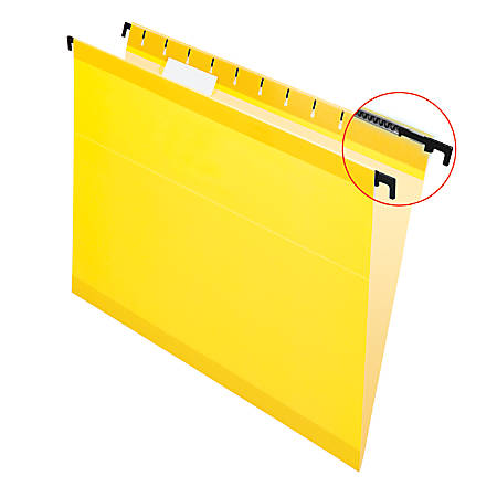 Pendaflex® SureHook™ Reinforced Hanging Folders, 1/5-Cut, Letter Size, Yellow, Box Of 20