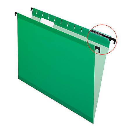 Pendaflex® SureHook™ Reinforced Hanging Folders, 1/5-Cut, Letter Size, Bright Green, Box Of 20