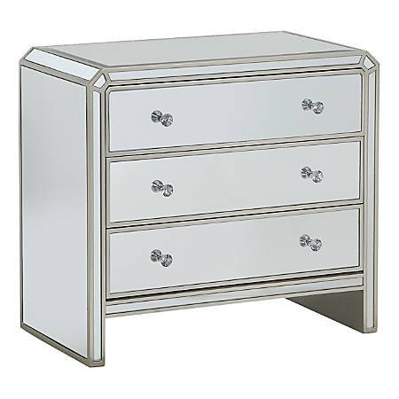 Coast To Coast 3-Drawer Chest, Champagne/Mirror