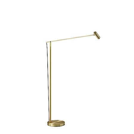 "Adesso® ADS360 Crane LED Floor Lamp, 60-1/2""H, Brushed Gold"