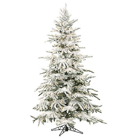 "Fraser Hill Farm 7 1/2"" Mountain Pine Flocked Artificial Christmas Tree With Clear LED String Lighting, White/Black"