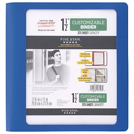 "Five Star® Customizable Binder, 1 1/2"" Rings, Blue"