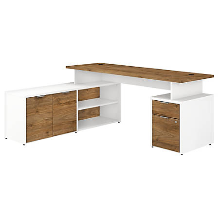 """Bush Business Furniture Jamestown L-Shaped Desk With Drawers, 72""""W, Fresh Walnut/White, Standard Delivery"""