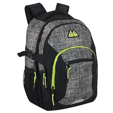 """Summit Ridge Mountain Edge Deluxe Backpack With 17"""" Laptop Pocket, Gray/Green"""