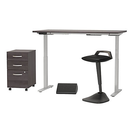 """Bush Business Furniture Move 60 Series 60""""W x 30""""D Adjustable Standing Desk with Lean Stool Storage and Ergonomic Accessories, Storm Gray, Standard Delivery"""