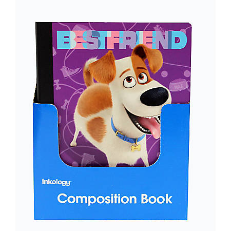 """Inkology Composition Books, The Secret Life Of Pets, 7-1/2"""" x 9-3/4"""", College Ruled, 200 Pages (100 Sheets), Assorted Designs, Pack Of 12 Books"""