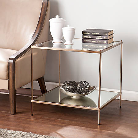 Southern Enterprises Knox End Table, Square, Clear/Metallic Gold