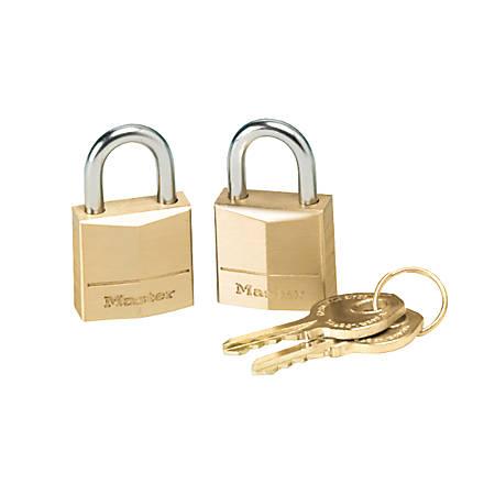 Master Lock Three-Pin Brass Tumbler Locks, 3/4 Wide, 2 Locks & 2 Keys/Pack