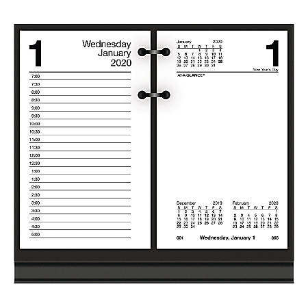 "AT-A-GLANCE® Daily Loose-Leaf Desk Calendar Refills, 3-1/2"" x 6"", 30% Recycled, January To December 2020, E717R50"