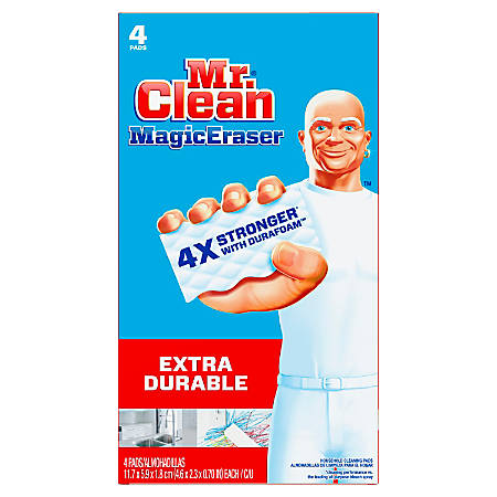 Mr. Clean® Magic Eraser Extra-Durable Cleaning Pads With Durafoam, White, 4 Pads Per Pack, Carton Of 8 Packs