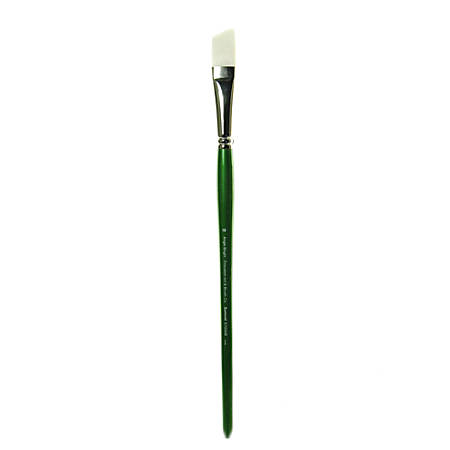 Princeton Synthetic Bristle Oil And Acrylic Paint Brush 6100, Size 10, Angled Bright Bristle, Synthetic, Green