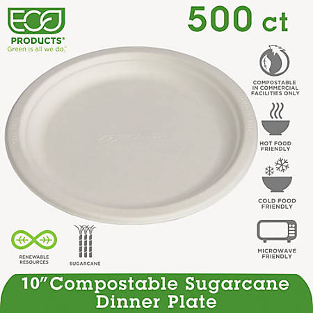 "Eco-Products Sugarcane Plates - 10"" Diameter Plate - Sugarcane Fiber Plate - Microwave Safe - 500 Piece(s) / Carton"