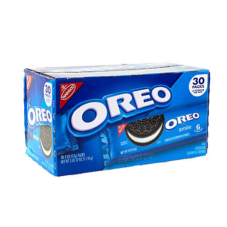Nabisco Single-Serve Oreo Cookies, 2 Oz, Pack Of 30