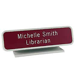 Engraved Designer Pedestal Desk Sign With