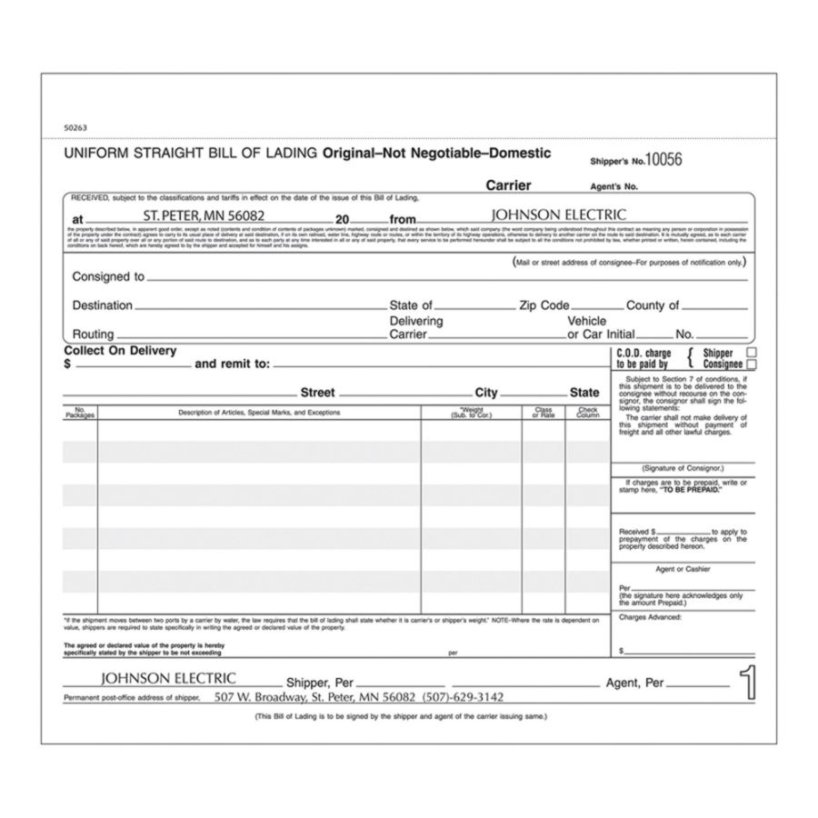 Bill Of Lading Forms Long 3 Part 8 12 x 7 Box Of 250 by Office Depot ...