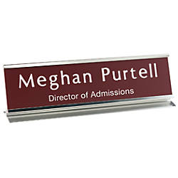 Aluminum Pedestal Desk Sign 2 x