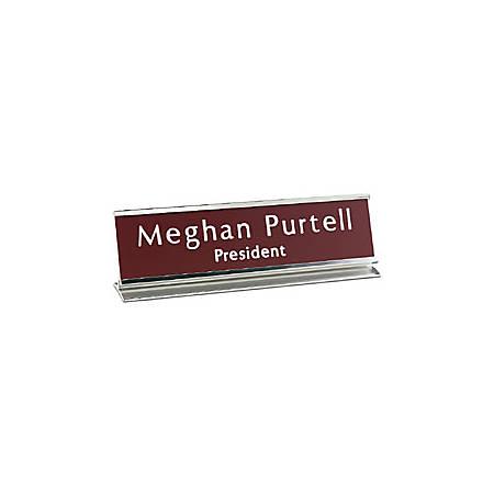 """Custom Engraved Plastic Desk Sign With Metal Pedestal Holder, 2"""" x 10"""""""