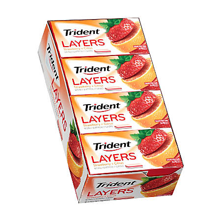 Trident® Layers Strawberry And Citrus Gum, 14 Pieces Per Box, Pack Of 12 Boxes
