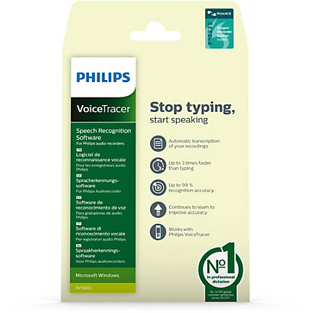 Philips VoiceTracer Speech Recognition Software - Activation Card, Download - PC