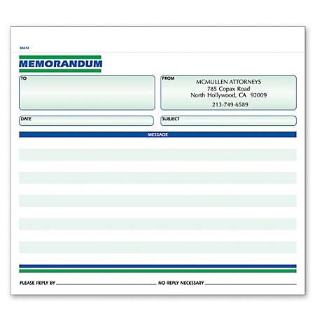 """Custom Forms, Memorandum, Ruled, 2-Part, 8 1/2"""" x 7"""", Box Of 250"""