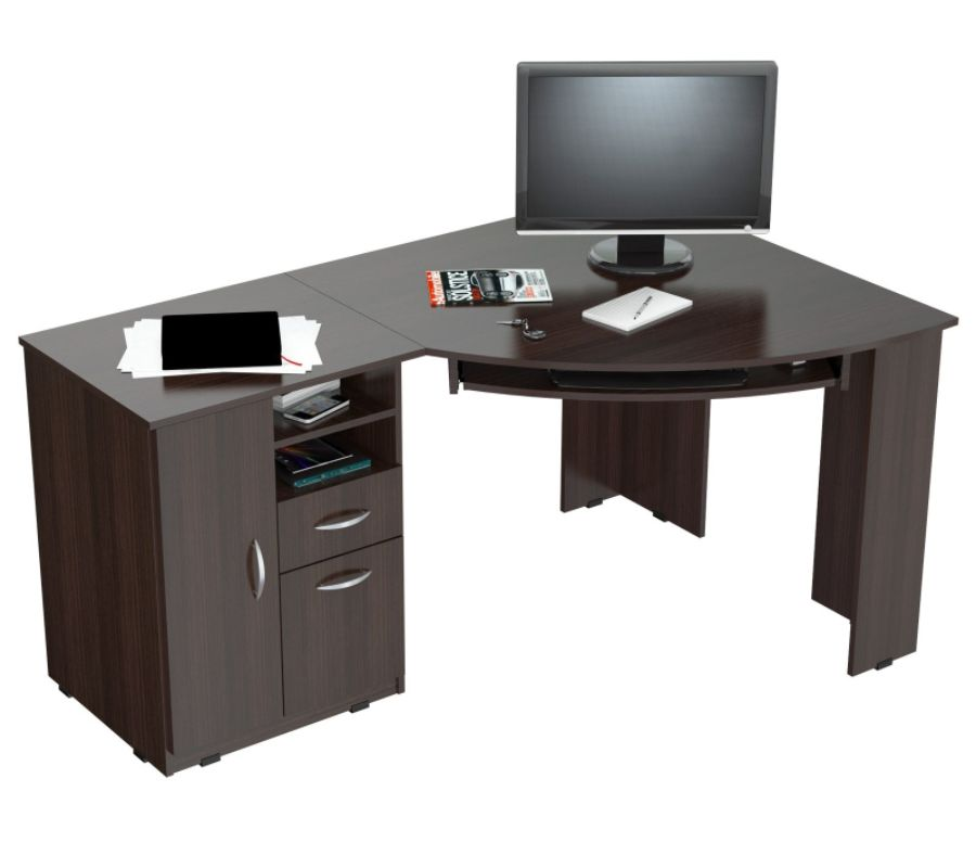 Inval Corner Computer Desk Espresso Wengue by Office Depot OfficeMax