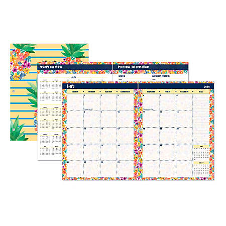 """Office Depot® Brand Instaculture-Pineapples Monthly Academic Planner, 8-1/4"""" x 10-1/4"""", July 2019 to June 2020"""