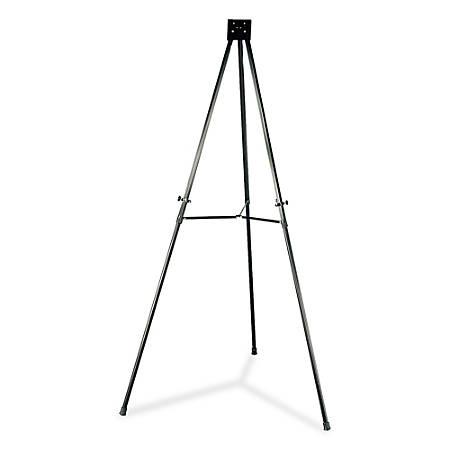 "Lorell® Adjustable Folding Display Easel, Telescoping, 66"", Black"