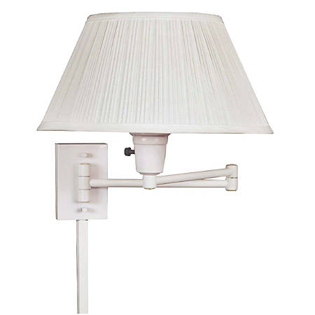 """Kenroy Home Simplicity Wall-Mount Swing Arm Lamp, 11""""H, White"""