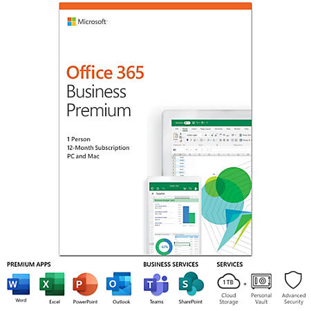 Office 365 Business Premium, For PC/Mac, 1 Year Subscription
