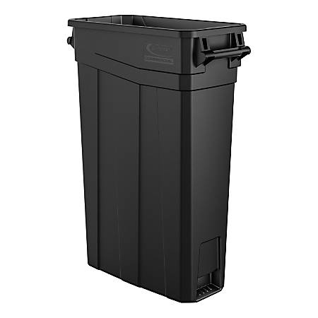 """Suncast Commercial Narrow Rectangular Resin Trash Can, With Handles, 23 Gallons, 30""""H x 11""""W x 22""""D, Black"""