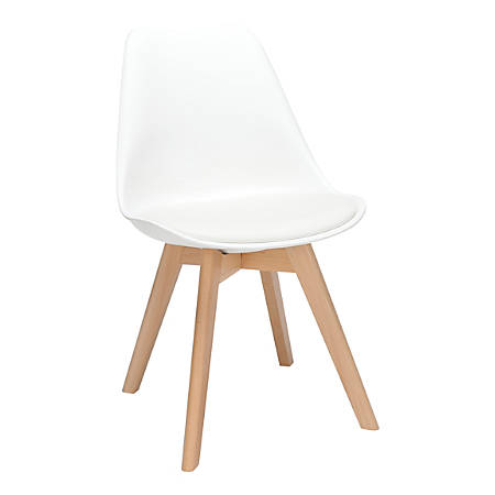 OFM 161 Collection Mid-Century Modern Molded Dining Chairs, White, Set Of 2 Chairs