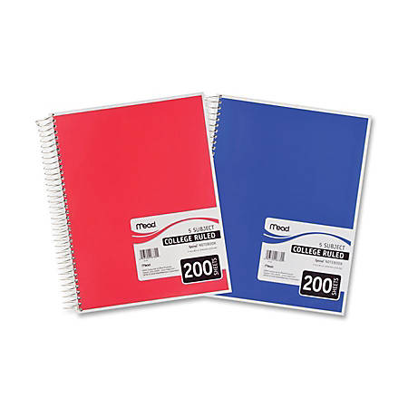 """Mead 5 - Subject College Ruled Wirebound Notebook - Letter - 200 Sheets - Spiral - College Ruled - 8 1/2"""" x 11"""" - White Paper - Assorted Cover - Back Board, Heavyweight - 1Each"""