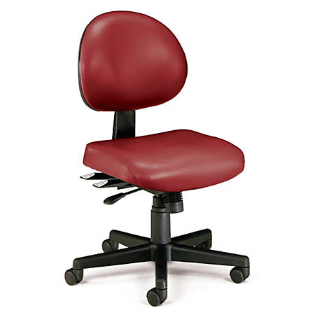 "OFM Anti-Microbial Vinyl Multi-Shift Task Chair, 35""H x 20""W x 20""D, Black Frame, Wine Fabric"