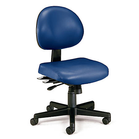 "OFM Anti-Microbial Vinyl Multi-Shift Task Chair, 35""H x 20""W x 20""D, Black Frame, Navy Fabric"