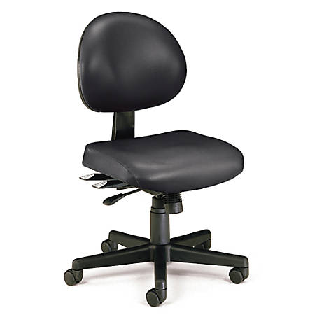 "OFM Anti-Microbial Vinyl Multi-Shift Task Chair, 35""H x 20""W x 20""D, Black Frame, Black Fabric"