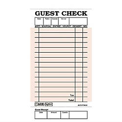 Daymark Numbered Guest Checks Pink 50