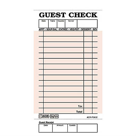 Daymark Numbered Guest Checks, Pink, 50 Checks Per Book, Case Of 50 Books